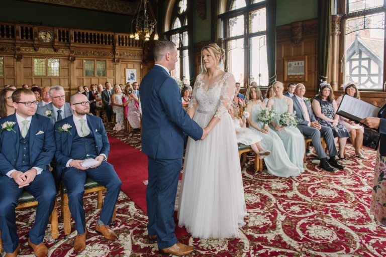 Chester City Hall wedding. Joe and Rachel married at this beautiful venue in Chester, then moved onto the ever-lovely Trafford Hall, Chester for their reception. Images by Corinne Fudge Photography.